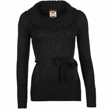 Lee Cooper Womens Belted Knit Jumper Ribbed Warm Long Sleeve Cowl Neck Top