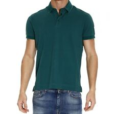 Z ZEGNA Mens Dark Green Pique Inner Collar 100% Cotton Short Sleeve Polo T-shirt