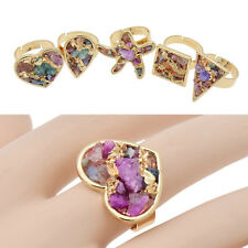 Colorful Chips Stone Druzy Adjustable Ring Womens Jewellery Heart Drop Square
