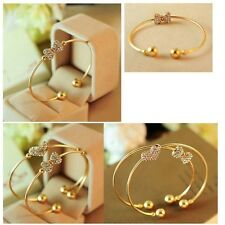 Bows Rhinestone Single Crystal Bangles Gold Plated For Ladies Jewelry Bracelet