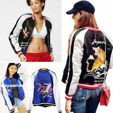 Satin Embroidered Reversible Bomber Jacket Womens Tiger Baseball Coat Two In One