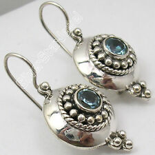 925 PURE Silver Collectible CUT BLUE TOPAZ ETHNIC NICE Dangle Earrings 3.1 CM