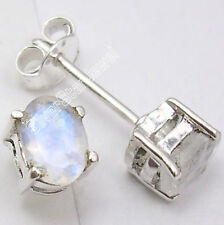 925 Solid Silver Collectible RAINBOW MOONSTONE Fashionable Small Earrings .7 CM