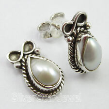 925 Pure Silver DROP WHITE SEA PEARL VINTAGE STYLE Post Earrings 1.4 CM TRIBAL