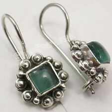 925 Sterling Silver Collectible APATITE Gemstone NICE Dangle Earrings 7/8 inches