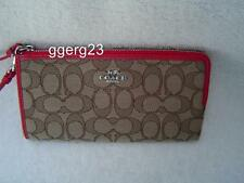 NEW AUTHENTIC COACH KHAKI SIGNATURE ZIP WALLET #53601 RED LEATHER TRIM