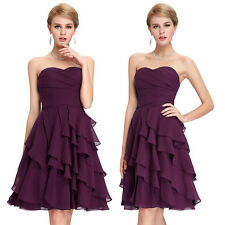 Chiffon Ruffle Short Mini Evening Dress Bridesmaid Cocktail Party Prom Ball Gown