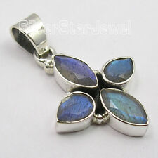 .925 Solid Silver Real BLUE FIRE LABRADORITE 4 STONE TRADITIONAL Pendant 3.2 CM