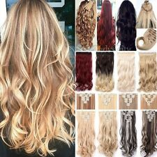 """Real Thick New Clip in Real Human Hair Extensions 18-30"""" Curly Wavy Hairpiece TG"""