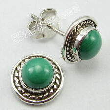 LIGHTWEIGHT Stud Earrings 1.0 CM 2.7 Grams ! 925 Solid Silver MALACHITE Stones