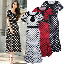 Vintage Style Polka Dot Women Ladies Cocktail Office Wiggle Stretch Sheath Dress