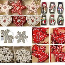 SCANDI NORDIC CHRISTMAS DECORATIONS WOODEN FABRIC RED WHITE NATURAL BOX SETS