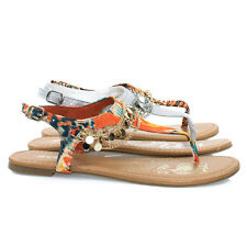 Above Metal Chain Flat Thong Sandal w Multi Color Print & Sling Back Ankle Strap