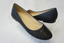 NEW Women's Ballet Flat Closed Toe Slip On Black Glitter Sparkle Shoes