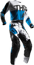 NEW 2017 THOR MX PULSE TAPER WHITE / BLUE ADULT RACE GEAR COMBO JERSEY PANTS ATV