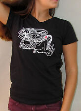 New Women Mermaid Pipeline Girls Hawaii Surfing V Neck Black 100% Cotton T Shirt