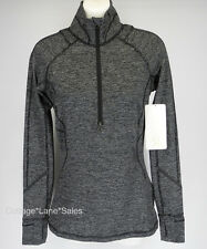 NEW LULULEMON Race Your Pace 1/2 Zip Top 4 Wee Stripe Heathered Black FREE SHIP