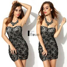 Strapless Sleeveless Bodycon Lace Pleated Dress Skirt Black Casual Party ILOE