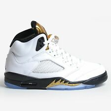 AIR JORDAN 5 RETRO WHITE GOLD COIN 2016 BLACK OLYMPIC MEN'S NIKE V DS 136027-133