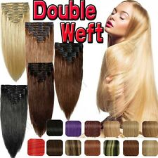 """s-noilite 10""""-22""""  Double Weft Clip in Remy Human Hair Extensions Full Head BS37"""