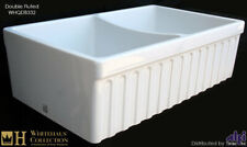 Whitehaus WHQDB332 Double Bowl Fireclay 33'' Fluted Farmouse Apron Sink