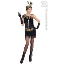 Ladies Womens 1920s Black Flapper Costume Outfit for Moll Fancy Dress
