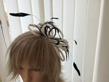WHITE & BLACK  SINAMAY AND FEATHER FASCINATOR,  WEDDINGS, CAN BE CUSTOM MADE