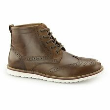 Red Tape HORWOOD Mens High Quality Leather Lace Up Brogue Ankle Boots Tan
