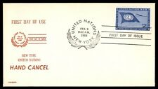 United Nations 1959 Airmail Fdc Hand Cancel New Type 7 Cents Cover Unsealed Unad