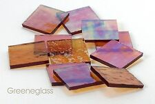 Amber Cathedral RR Iridized Mosaic Glass Tile Cut to Order Shapes Half Pack