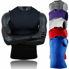 Mens Compression Sports Wear Athletic Sleeveless Tank Top Running Gym T-Shirts