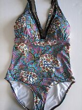 NWT Kenneth Cole Coventry Floral Tummy Toner Halter Swim Bathing Suit