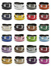 Men's Belt Reversible Wide Bonded Leather Silver-Tone Buckle XL Sizes
