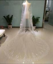3M Long Luxury Lace Edge Bride vail rhinestone Cathedral Wedding Veil+Comb