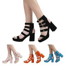 NEW WOMENS LADIES HIGH BLOCK HEEL PEEPTOE PLATFORM STRAPPY SANDAL SHOES SIZE 3-8