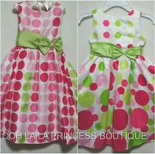 RARE EDITIONS & RARE TOO! Easter Dress Pink & Green Dots on White Girls EUC