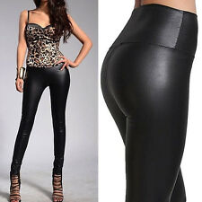 Sexy Women Wet Look High Waist Full Length Leggings Faux Leather Jeggings Pants