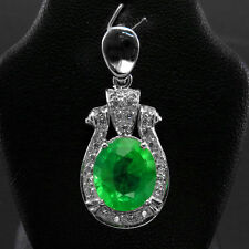 EXCEPTIONAL! TOP GREEN EMERALD & SAPPHIRE REAL 925 STERLING SILVER PENDANT