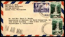 Philippines Quezon City colorful franking on airmail cover to US
