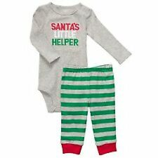 "NWT CARTER'S 2PC ""SANTA'S LITTLE HELPER"" KNIT outfit  SIZES NB & 3M"