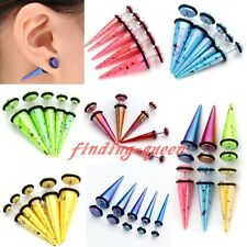 Pair Acrylic Colorful Spike Taper Fake 6g-00g Cheater Ear Stretcher Plug Earring