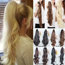 Fashion Pony Tail Fake Hair Extension Clip In Ponytail Wavy Claw Human Hairpiece