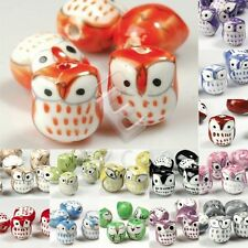 10pcs Porcelain Owl Animal Spacer Loose Bead Pendant 17x15mm Jewelry Findings YB