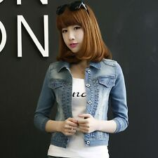 Fashion Women Lapel Long Sleeve Short Coat Slim Denim Jean Jacket Outwear S M L