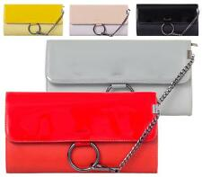 LADIES SMALL FAUX LEATHER OVERFLAP RING ENVELOPE PARTY WOMENS EVENING CLUTCH BAG