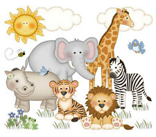 Safari Baby Nursery Decor Decals Jungle Animals Wall Art Mural Stickers Room