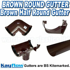 Brown Half Round Plastic Guttering  Downpipes Fittings 112mm Half Round Gutter