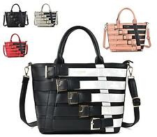 LADIES FAUX LEATHER STRAPPY BUCKLE SALLY YOUNG FUNKY LARGE SHOULDER HANDBAG
