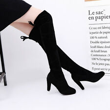 Black/Gay Women Suede Over The Knee Boots Shoes Block High Heel Lace Thigh Boots