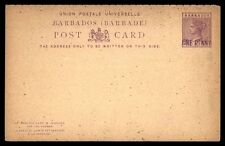 Barbados 1 Penny Mint Revalued Postal Stationery Reply Card